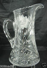 VINTAGE CUT GLASS OR CRYSTAL WATER/WINE/JUICE PITCHER,FLOWER ETCHED