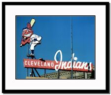 Cleveland Indians Chief Wahoo @ Municipal Stadium Double Matted and Framed. NEW!