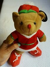 CHRISTMAS JINGLE BELL BROWN TEDDY BEAR • Plays no music • Pre-owned • Sold-as-Is