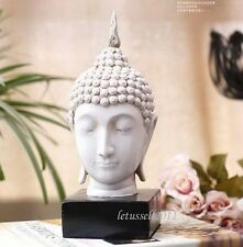 23CM TALL WHITE BALINESE BUDDHA HEAD RESIN STATUE SCULPTURE WITH BASE STYLISH