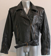 Mens Jacket 80´S Vintage 100% Leather Biker Cafe Racer Punk RocK See Measures!!!