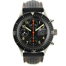 EXLNT COND MENS BELL & ROSS BY SINN BLACK DIAL AUTO CHRONO DAY+DATE ON STRAP