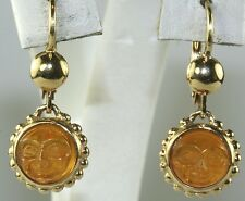 VINTAGE ITALIAN 14K GOLD ITALY CARVED CITRINE DUAL MOON FACE EARRINGS