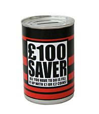 Small £100 Pound Saver Fund Saving Money Tin Box Piggy Bank secret Santa Gift