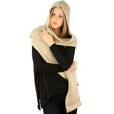 Unisex Winter Chunky Hand Knit Hooded Scarf Pullover Headscarf Hoodie Hat Beige