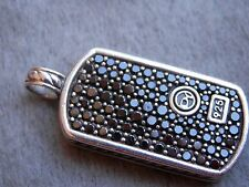 DAVID YURMAN SMALL PAVE' BLACK DIAMOND & STERLING 925 DOG TAG PENDANT 5.7g