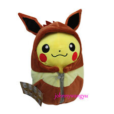 New 10'' Pokemon Pikachu With Eevee Robe Cosplay Plush Toy Soft Animal Doll Gift