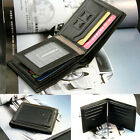 Men's Leather Bifold Credit ID Card Holder Purse Thin Fold Wallet Billfold