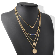 Bohemian Style Fashion Jewelry Charm Bead Gold Three Layer Wave Chain Necklace