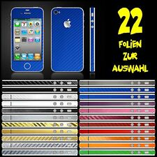 IPHONE 4 FOLIE BLAU CARBON ( BUMPER COVER HÜLLE SKIN SCHALE CASE AUTO )