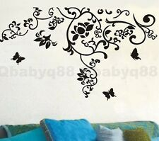 Flower vine+Butterfly 1 Removable Wall Stickers Decal Home art Decor Deco Mural