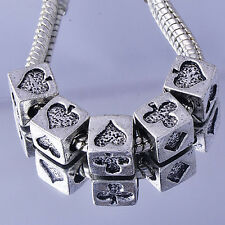 5PCS european Charms Beads silver charms Poker pattern carved Fit bracelet
