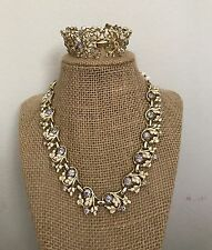Vintage Coro Demi-Parure Gold Tone Enamel And Rhinestone Necklace Bracelet