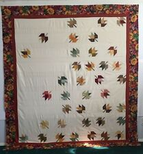 Falling Leaves Quilt Top - Maple Leaf - 81 x 88 Great for hand/machine quilting