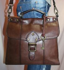 FOSSIL Brown Medium Leather Shoulder Hobo Tote Satchel Cross Body Purse Bag