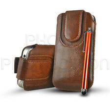 MAGNET BUTTON LEATHER PULL TAB CASE COVER POUCH & STYLUS FOR VARIOUS ZTE PHONES