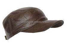 NUOVA luce Gatsby Unisex CHOCO Castro Tappo Di Alta Qualità Vera Pelle Berretto Cappello