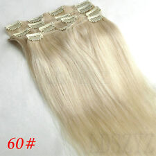 7PCS 14''18''26'' 100% REMY REAL HUMAN HAIR PREMIUM CLIP IN EXTENSIONS FULL HEAD