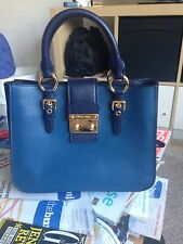 Miu Miu Blue Goatskin Leather Madras Bicolore Tote Bag 1695