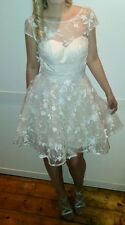chi chi london dress, asos, ball, prom, lace, mini, floral, white, races size 8