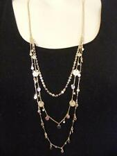 $18 Carole Coin Beaded Triple Layering Necklace Tri-Color Metal Accents & Beads