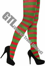 Red & Green Ladies Striped Tights Xmas Elf Christmas Fancy Dress Costume