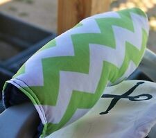 lime green chevron with navy blue minky infant car seat carrier handle cushion