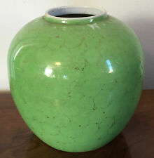 Antique 19th c. Chinese Porcelain Green Glazed Vase Gilt Decoration Jar Export