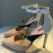 Sexy SHOEDAZZLE Stunning High Heels With Two Straps Beige White Black Size 6
