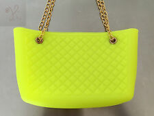 NEW WOMEN HOT LIME YELLOW JELLY FROSTED CANDY SILICONE SHOULDER PURSE HANDBAG