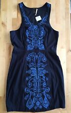 Free People dress size M dark blue new with tag floral embroidery boho sundress