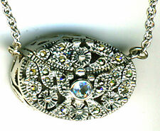 "925 Sterling Silver Blue Topaz & Marcasite Prayer Box Locket Pendant  26"" chain"