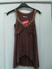 KIT CAMEL BROWN STRAPPY EMBELLISH GOLD SILVER STRAPPY FLOATY ASYMMETRIC VEST TOP