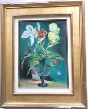 11 FRAMED OIL ON BOARD PAINTING by T.ORINSTEIN IMPRESSIONIST STUDY OF FLOWERS