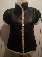 short sleeve Black High Neck, Faux Fur& Faux Leather Jacket, size 10-12