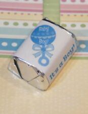 30 Baby Shower It's a Boy Blue Rattle Hershey Candy Nugget Wrappers Stickers