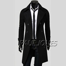 Winter Mens Long Trench Coat Wool Jacket Peacoat Outerwear Overcoat Windbreaker
