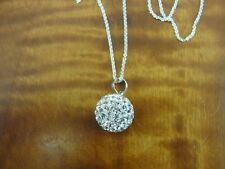 Cubic Zirconia Bead Ball with Enamel Sterling Silver 925 Necklace Pendant