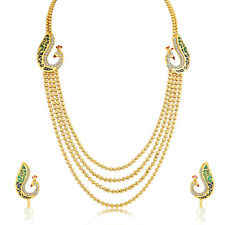 Sukkhi Magnificent Peacock 4 String Gold Plated Necklace Set For Women(N71246GLD