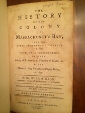 RARE 1765 History of Colony of Massachusetts Bay, Settlement, Plymouth, American