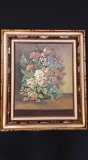 """J. Collazzi oil painting beautiful bucay of flowers wooden frame 28"""" x 24"""""""