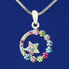 "W Swarovski Crystal Moon Star Sun Multi Color Pendant Necklace Jewelry 18"" Chain"