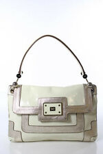Anya Hindmarch Ivory Patent Leather Gold Tone Detail Shoulder Bag Size Medium