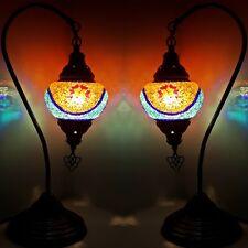 SALE! 2 X Turkish Moroccan Colourful Mosaic Lamp Light Tiffany Glass Desk Table