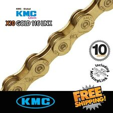 KMC X10 GOLD Ti-N 10-Speed Bike Chain XSP 116Links