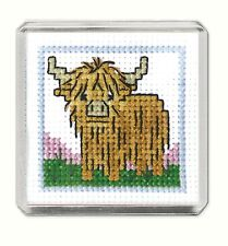Fridge Magnet Scottish Cross Stitch Kit; 'Wee Hieland Coo' by Textile Heritage