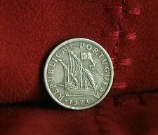 1974 Portugal 2 1/2 Escudos World Coin Rare Ship Shield KM590