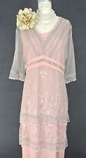 Downton Abbey Dresses Pink Nataya Dress M Lace Gatsby Formal Victorian Style NWT