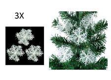 3 addobbi FIOCCO DI NEVE NATALE albero decorazione feste Casa Christmas fiocchi