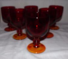 "(Set of 6) Imperial Glass Hoffman House Ruby Red 6"" Tall WATER GOBLETS"